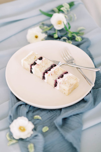 lemon blueberry wedding cake slice