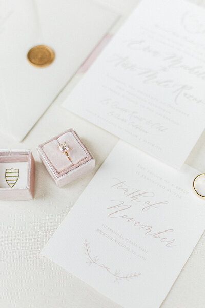 palm valley california wedding invitation neutral and blush