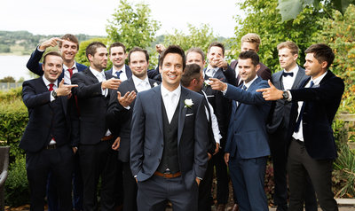 Groomsmen photo at the Finch's Arms, Rutland wedding venue