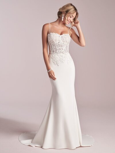 Illusion Crepe Sheath Wedding Dress. Looking for sexy but not too sexy? Exposed boning makes a chic and delicate statement in this illusion crepe sheath wedding dress.