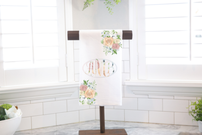 Floral Monogram Tea Towel _ Stand