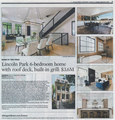 chicago tribune article of a lincoln park staging done by haven