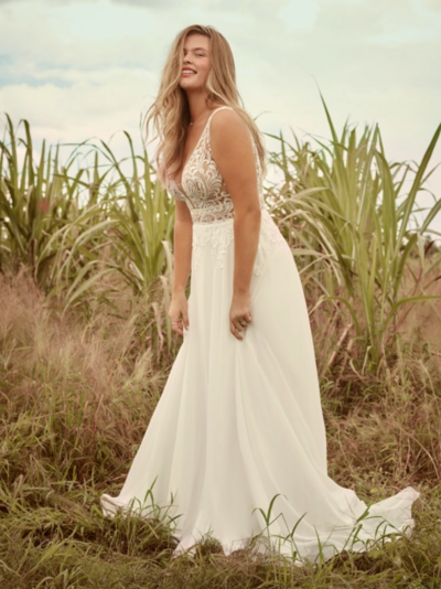 There's a love language to a romantic and simple V-neck chiffon bridal gown. So whatever your communication style, you can say a lot with a lace bodice, illusion details, and effortless jersey lining.