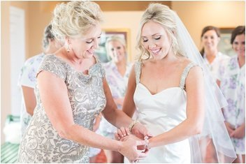 mom helping bride get dressed before wedding in Greenville SC