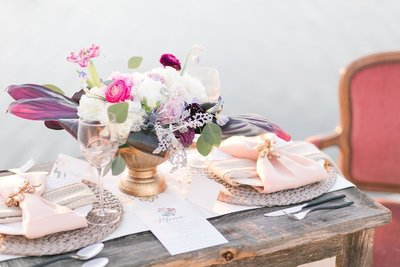 Costal wedding table scape designed by Touch of Whimsy Events for a Port Aransas Wedding  - Destination wedding designer and planner
