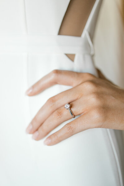 Closeup of bride's ring on her wedding day