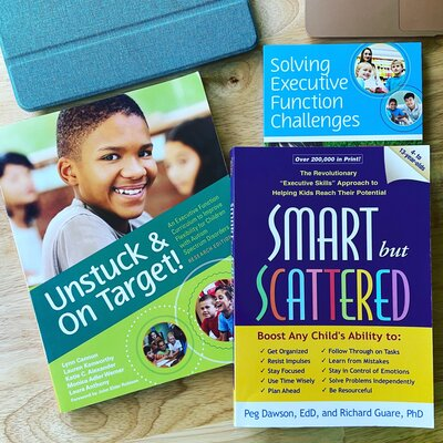 Executive function books: Unstuck and On Target, Smart but Scattered, and Solving Executive Function challenges
