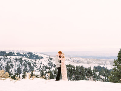 Karli and David's Engagement Photos at Bogus Basin in the Snow