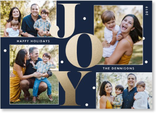 navy and gold joy holiday photo card
