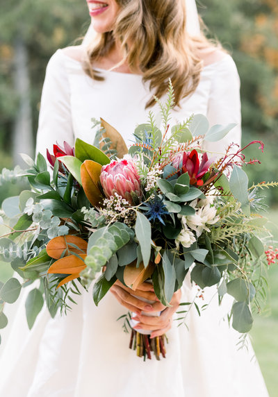 Fall bridal bouquet with eucalyptus