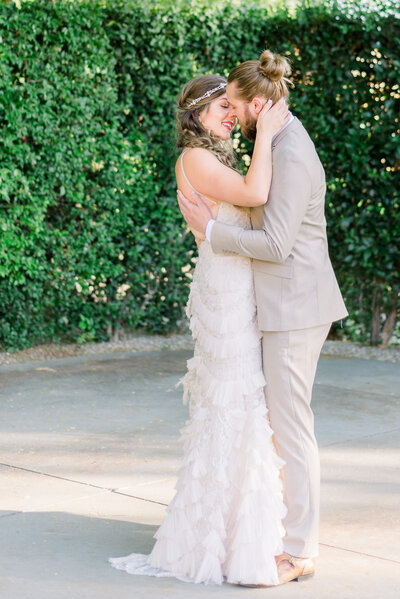 bride and groom nearly kissing in phoenix wedding photographer