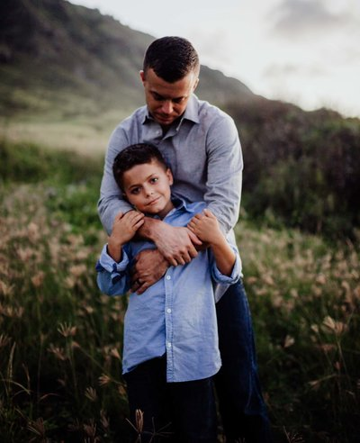 Family Photography Oahu Hawaii, Father and Son together