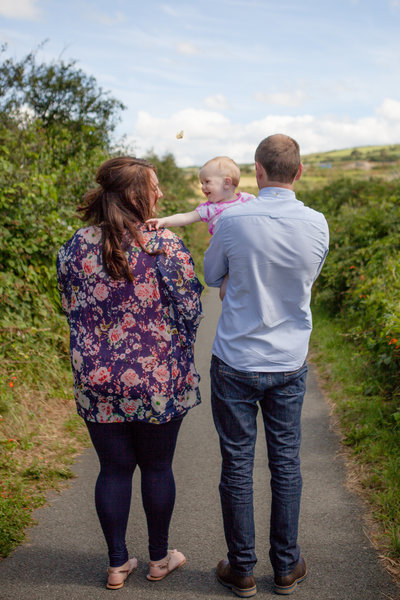 family photography on cliff path at aberporth surrounded by nature