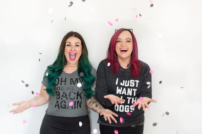 Britt and Kelsey of Launch Your Daydream celebrating creative business branding by throwing confetti