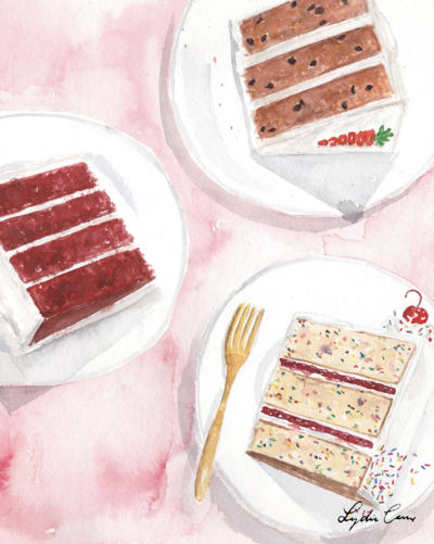 cake slices watercolor illustration kitchen art red velvet carrot sprinkles