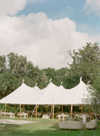 Sail Cloth Tented Wedding Veranda at Magnolia Plantation