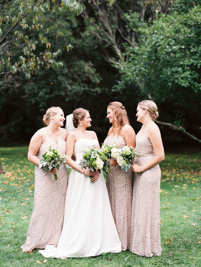 Bridesmaids at Old Edwards Inn Wedding in Adrianna Papell