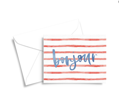 red and blue stripes preppy parisian hello notecards