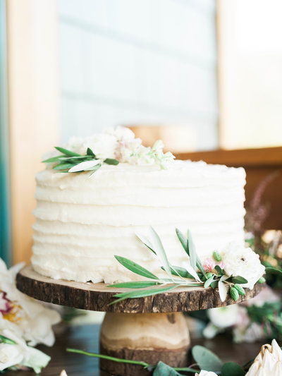 Simple Wedding Cake with Greenery at Rainbow Ranch Lodge