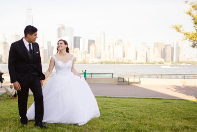 Bride and Groom in front of NYC skyline