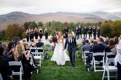 wedding ceremony at the trapp family lodge in stowe, vermont