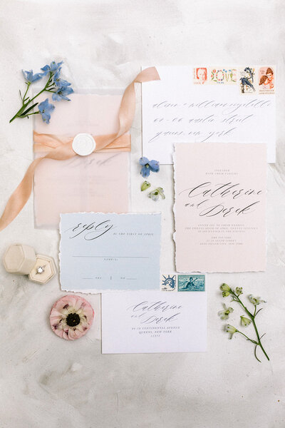 summer garden wedding invitation at the foundry brooklyn nyc