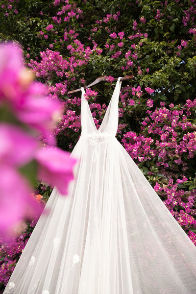 weddingdresswithpinkflowers