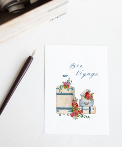 Bon Voyage Going Away Watercolor Greeting Card