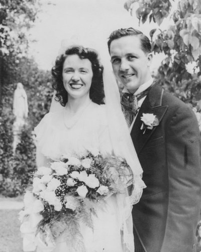 Kate's grandparents' old wedding photo