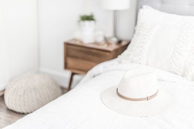 White hat on bed
