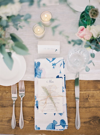 Table setting at 320 Ranch Wedding in Big Sky, Montana