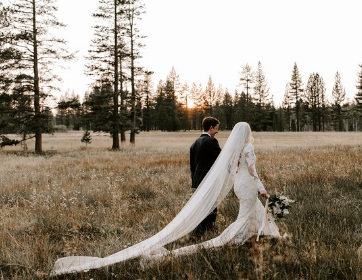 Joyful Lake Tahoe Wedding Planners couple walking in meadow at sunset,  wedding at venue Mitchell's Mountain Meadows Sierraville near Truckee, Joy of Life Events image by The Shepards Photo