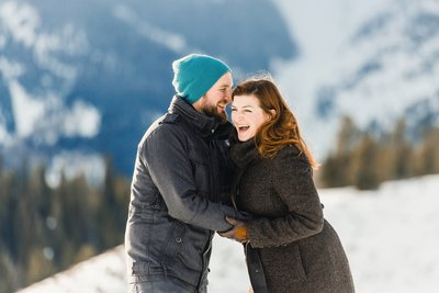 Fun Jackson Wyoming Winter Snow Adventure Engagement Session