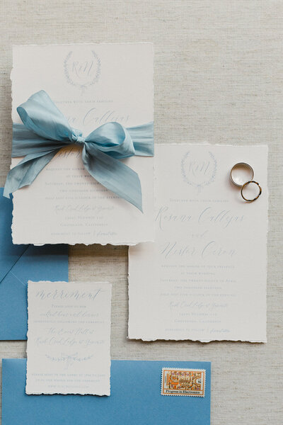 Yosemite national park wedding deckled edge french blue invitation 8
