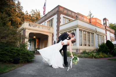 Bride and Groom at the Lairmont Manor in Bellingham