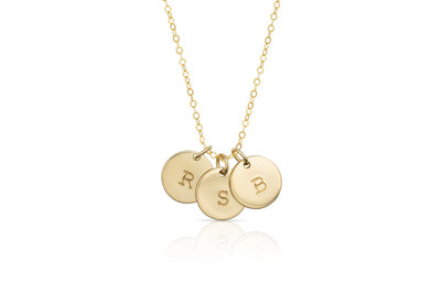 Three Initials Disk Necklace