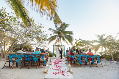 Guests Look on During Outdoor Tropical Wedding Ceremony in Key West Florida