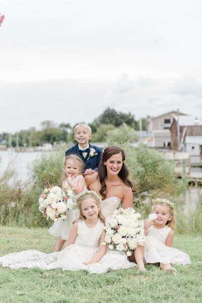 Waterfront bride with kids