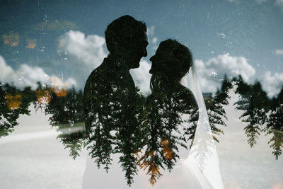 creative double exposure evergreens vt wedding stratton mountain