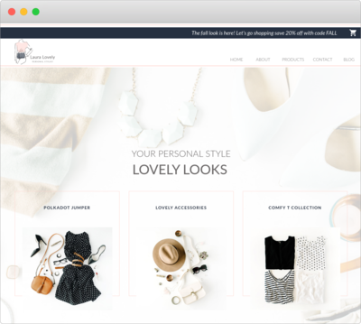 Showit template mockup of an ecommerce showit site