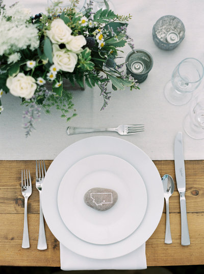 Illustrated River Rock Place Setting  for Montana Wedding