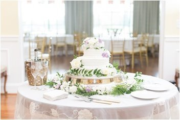 cake table before green valley country club wedding