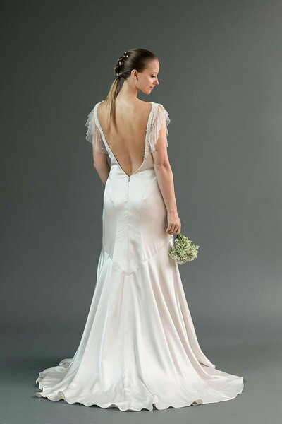 Photo link to more details about the Hana silver charmeuse wedding dress
