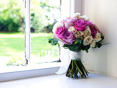 Cockliffe country house wedding bouquet on window sill