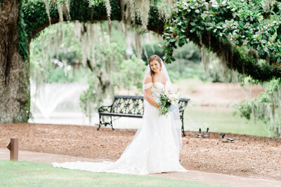 Bride posing in park with a tree with Spanish moss in Alabama