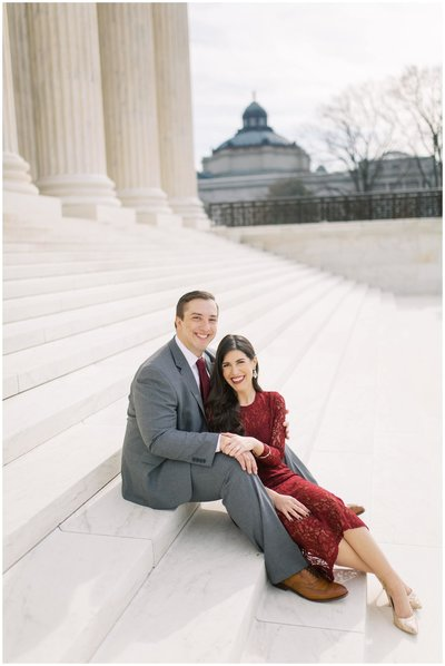 Engaged Couple in DC posing on stairs. Elegant DC Wedding