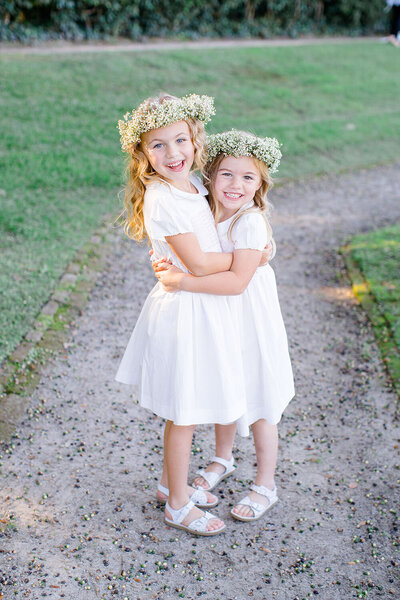 Classic cap sleeve flower girl dresses with delicate baby's breath flower crowns