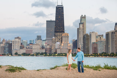 chicago-skyline-beach-engagement-photo