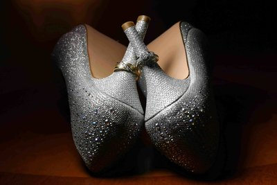 Bride's high heels with rings. Photo by Ross Photography, Trinidad, W.I..