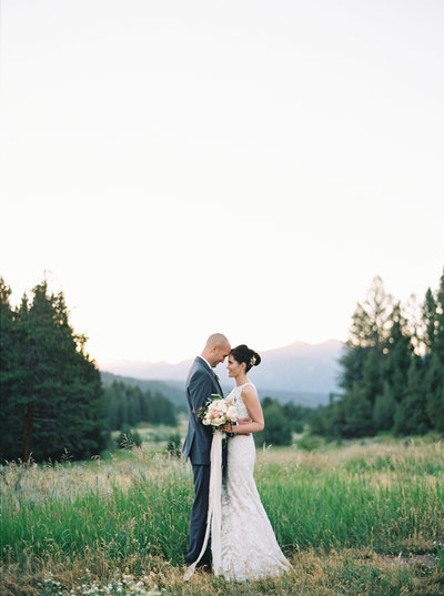 Sunset Wedding Photos at Rainbow Ranch in Big Sky